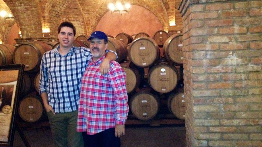 Two men in a vineyard