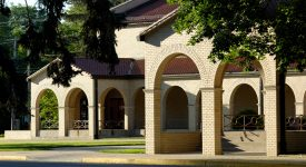showing arched entryway to the Franciscan Center