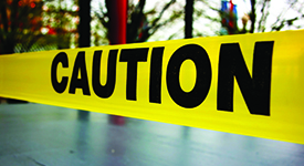 close up on caution tape