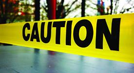 close up on caution tape