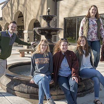 Students Near The Fountain Outside The Rec Center