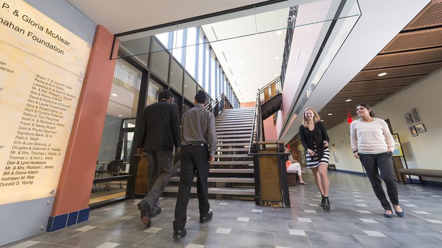 People walking inside a building