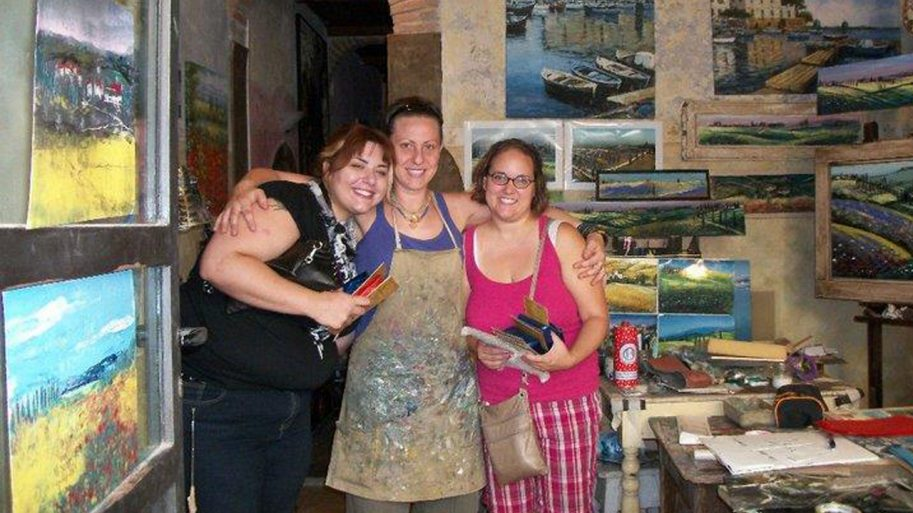 Students studying art abroad