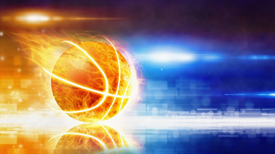 Basketball gliding across the floor in neon