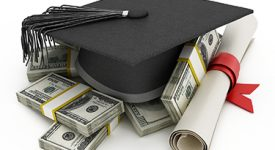 Image of Graduation Cap, Diploma and money