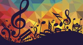Music notes with an abstract background