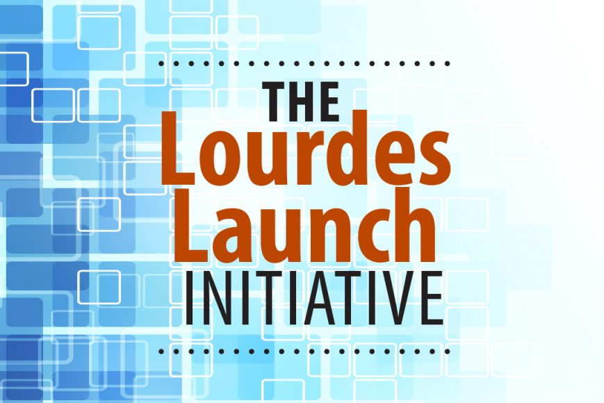 Artistic concept with blue squares with Lourdes Launch Initiative text