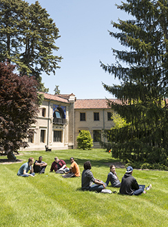 Campus shot with students