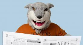 Lourdes Gray Wolf Mascot