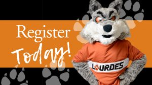 Register Today showing wolf prints with Gubi mascot