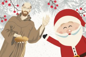 St Francis And Santa Christmas Holiday