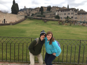 two students in front of Basilica