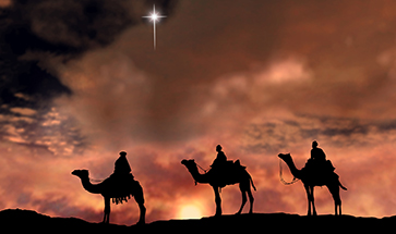 Wise Men following the Christmas Star