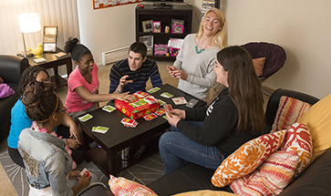 Students In Apartment Style Lourdes Housing