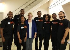Step Afrika dance troupe with President Gawelek