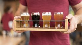 Tray of beer glasses