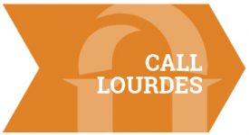 Light Orange Arrow with Lourdes University arches