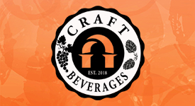 Craft Beverages logo showing grapes and leaves with an orange background