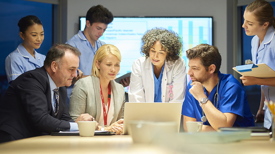 Business and healthcare team discuss while looking at a computer