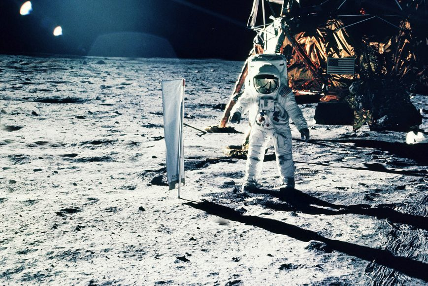 Astronaut on the moon with US flag