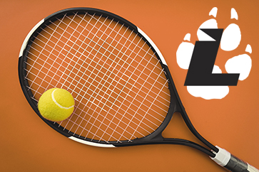 Black tennis racket and yellow tennis ball on an orange clay court