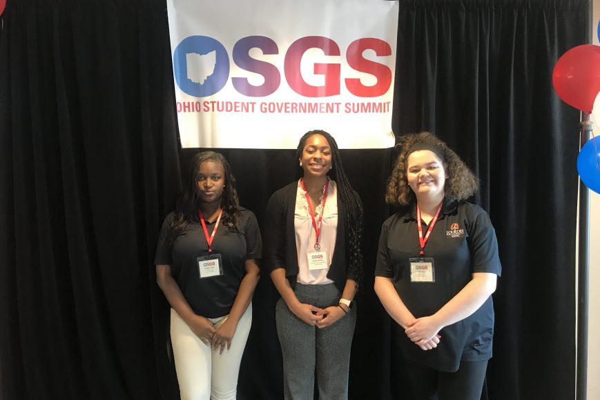 Eunique Little (SGA Secretary), Ashley Jackson (SGA Advisor) & Emily Crain (SGA President)
