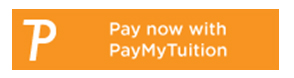 Orange rectangle with a big letter P and text Pay now with PayMyTuition