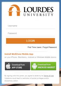 lourdes portal login page