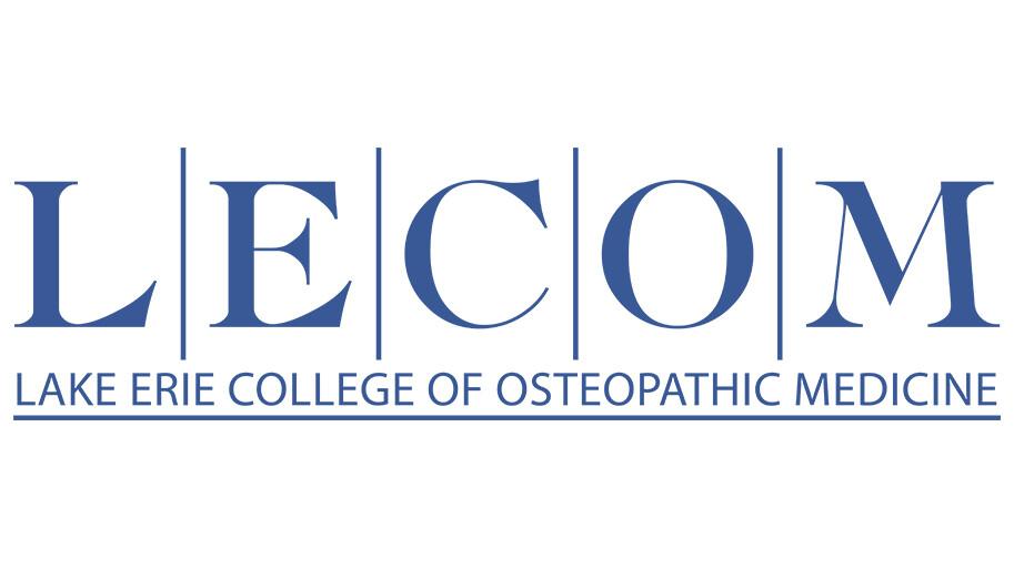 Blue text logo for LECOM
