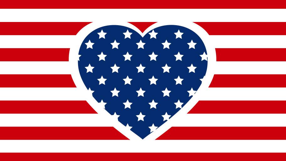 Image of Heart and USA flag