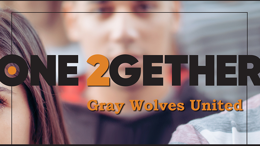 ONE2GETHER logo with words Gray Wolves United