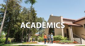 Image of campus with Academics text