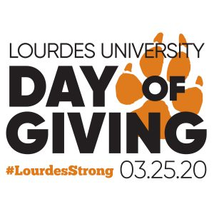 LU Day of Giving text with Paws