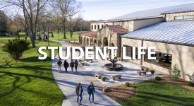 Image outside of Rec Center with Student Life text