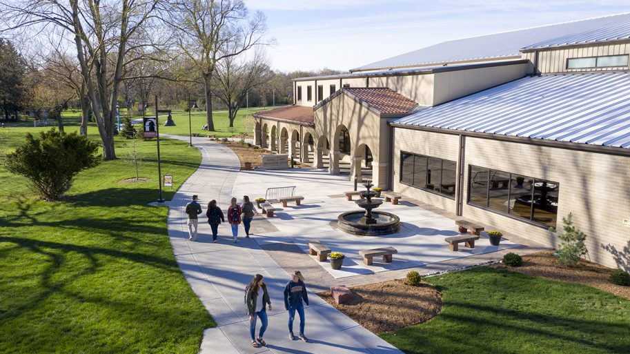 students walking by rec center