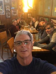 Group enjoying dinner out