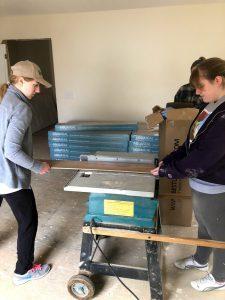 Jenn and Elyse working