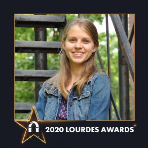Photo of Breanne Herman inside 2020 Lourdes Awards frame
