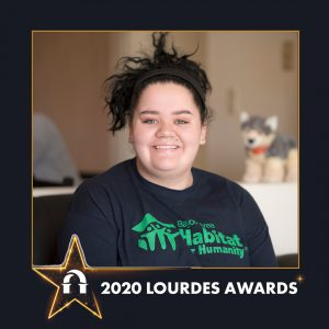 Photo of Emily Crain inside 2020 Lourdes Awards frame
