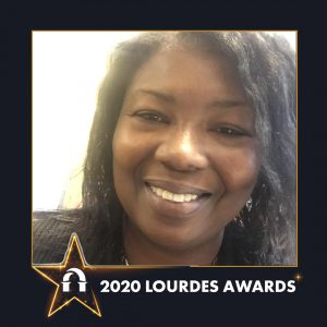 A photo of Gwendolyn McLaurine inside a 2020 Lourdes Awards frame
