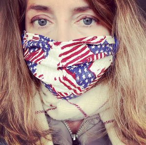 Heather Rendall wearing a homemade mask with red white and blue