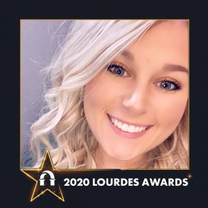 Photo of Kaylie Baker inside a 2020 Lourdes Awards frame