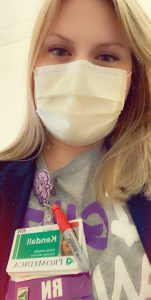 Photo of Kendall Williamson wearing a mask as a RN