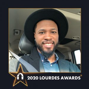 Photo of Lawrence McClorrine inside a 2020 Lourdes Awards frame