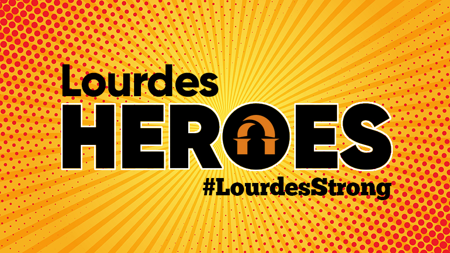 Retro Cartoon Comics Background with text: Lourdes Heroes, #LourdesStrong
