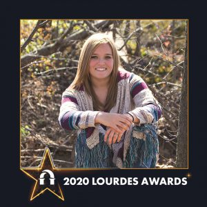 Photo of Morgan Sams inside a 2020 Lourdes Awards frame
