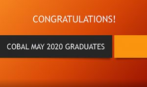 Image with Text: Congratulations May 2020 Graduates for College of Business & Leadership