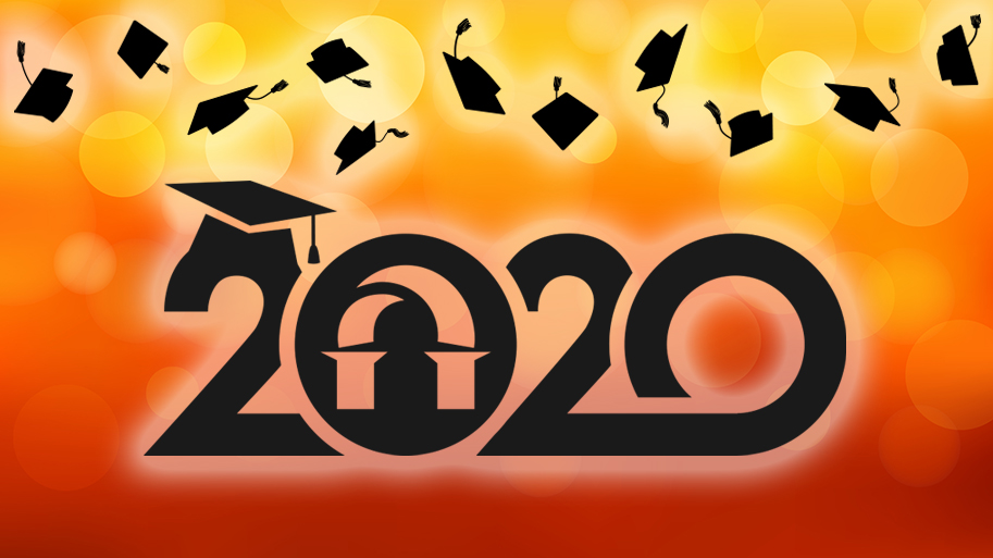 Image representing Graduation Celebration: 2020 in text with Lourdes logo in first 0 of 2020, grad caps appear across the top