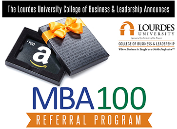 Image of MBA100 Referral Program logo with image of Amazon gift card and box