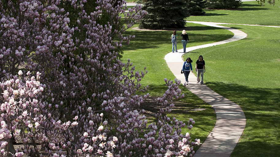 Photo of campus in spring and students walking grounds